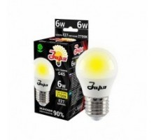 Лампа светодиодная ST G45 6Вт 2700К 360Лм Е27 шар ЗАРЯ