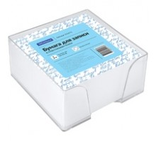 Блок для заметок 9*9*4,5 белый, пластик бокс, OfficeSpace