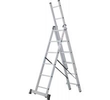 Лестница алюминиевая трёхсекционная 3х6 ступеней NV 123 Новая высота