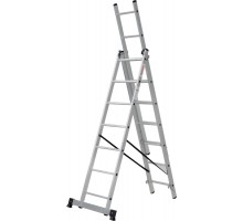 Лестница алюминиевая трёхсекционная 3х7 ступеней NV 123 Новая высота