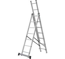 Лестница алюминиевая трёхсекционная 3х8 ступеней NV 123 Новая высота