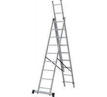 Лестница алюминиевая трёхсекционная 3х9 ступеней NV 123 Новая высота