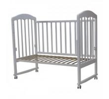 Кровать детская(арт. 44) 120*60 'СИЛЬВИЯ'-2               автостенка,накладка силик. кол/качалка (белый, серо\белый,слоновая кость)
