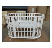 Кровать детская (арт. 42) 125*65 'ОЛИМПИЯ' (8в1) маятн. (белый, слоновая кость)