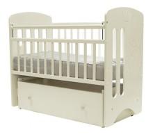 Кровать детская (арт. 40) 120*60  'КАРОЛИНА' МДФ маятник. ящик на колесах.накладка силик.рис.мишка (белый,слон.кость)