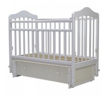 Кровать детская (арт. 41) 119*60  'МАЛЬТА'-7 универ.маятн/ящ.накладка силик, (белый,слон.кость)