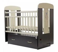 Кровать детская (арт. 04) 120*60 'ВЕРОНА' маятник,  ящик на колесах ЛДСП,накладка силик. (венге-ваниль)