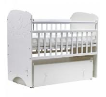 Кровать детская (арт. 27) 120*60 'СОФЬЯ' (облака). маятник (ящ. на кол.)МДФ,накладка силик. (слоновая кость, белая)