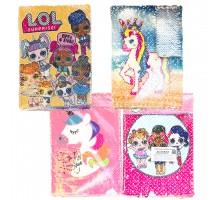 Записная книжка ВУ-520 А5 75л, пайетки, Лола, единороги, фламинго