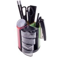 Настольный органайзер OfficeSpace 'Витраж', 11 предметов, вращающийся, черный/цветной, SS158_3183/ 205594