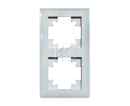 Рамка 2-местная горизонтальная белая Дабрабыт