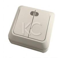 Выключатель 2-клавишный ОП, 10А, с индикатором белый Дабрабыт