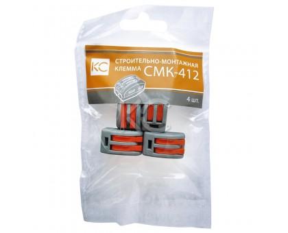 Строительно-монтажная клемма СМК-412 отверстия 2х0,08-2,5мм2 (уп./4шт)