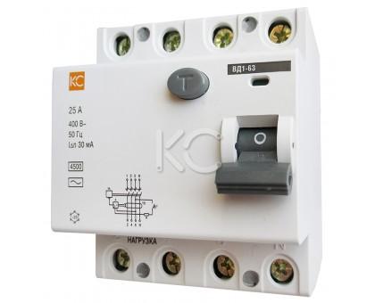 Дифференциальный выключатель (УЗО) ВД1-63 4р С 10А/30мА