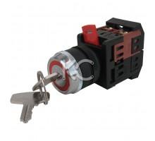 Переключатель AKS-22чер с ключ на 2фик пол1з+1р