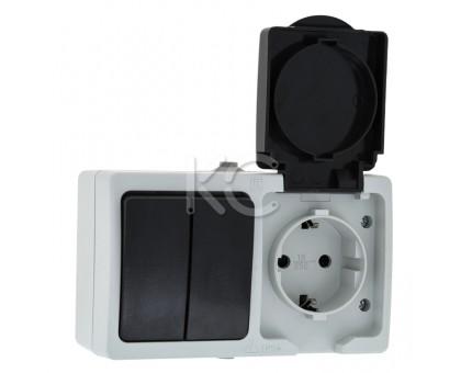 Блок розетка 1-местная ОП 16А с/з с крышкой + 2-кл выкл. IP54 серый Дабрабыт