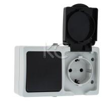 Блок розетка 1-местная ОП 16А с/з с крышкой + 1-кл выкл. IP54 серый Дабрабыт